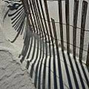 Sand Fence During Winter On The Beach Art Print