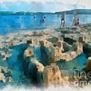 Sandcastle On The Beach Art Print
