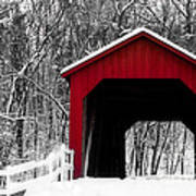 Sandy Creek Cover Bridge With A Touch Of Red Art Print