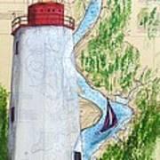 Sandy Hook Lighthouse Nj Chart Map Art Peek Art Print