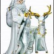 Santa And Reindeer Art Print