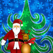 Santa And Reindeer In Winter Snow Scene Art Print
