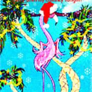 Santa Baby Flamingo Art Print