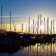 Santa Barbara Harbor With Yachts Boats At Sunrise In Silhouette Art Print