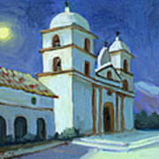 Santa Barbara Mission Moonlight Art Print