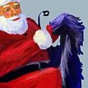 Santa Blue Art Print