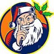 Santa Claus Father Christmas Retro Art Print