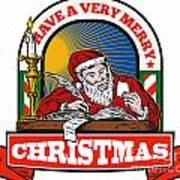 Santa Claus Father Christmas Writing Letter Art Print by Aloysius Patrimonio