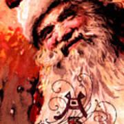 Santa Clause Vintage Poster A Joyful Christmas Art Print