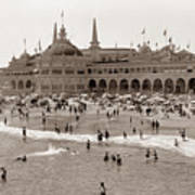 Santa Cruz Beach From Pleasure Pier  California Circa 1908 Art Print