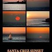 Santa Cruz Sunset  Art Print by AJ  Schibig