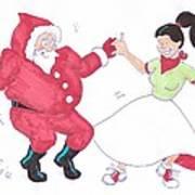 Santa Dances Art Print