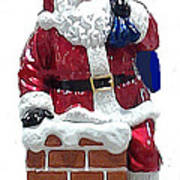 Santa Down The Chimney Art Print