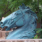 Santa Fe Big Blue Horse Art Print