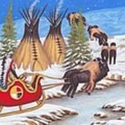 Santa For Indians Art Print by Billie Bowles