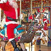 Santa Go Round Art Print