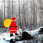 Santa In Christmas Woodlands Art Print