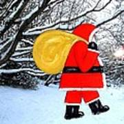 Santa In Winter Wonderland Art Print