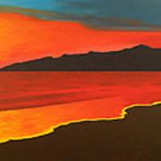 Santa Monica Beach And Mountains Art Print