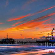 Santa Monica Pier At Dusk Art Print