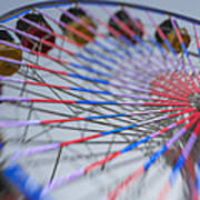 Santa Monica Pier Ferris Wheel At Dusk Art Print