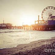 Santa Monica Pier Retro Sunset Picture Art Print