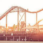 Santa Monica Pier Roller Coaster Panorama Photo Art Print