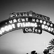 Santa Monica Pier Sign In Black And White Art Print by Paul Velgos