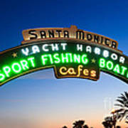 Santa Monica Pier Sign Art Print by Paul Velgos