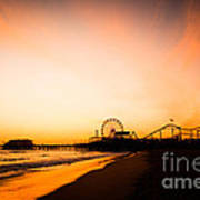 Santa Monica Pier Sunset Southern California Art Print by Paul Velgos