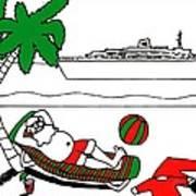 Santa On Vacation Art Print