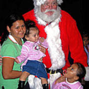 Santa Poses With Fans At Annual Christmas Parade Eloy Arizona 2004 Art Print
