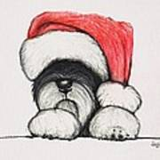 Santa Schnauzer Art Print