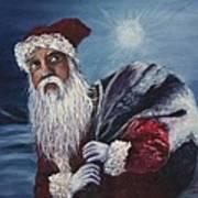 Santa With His Pack Art Print