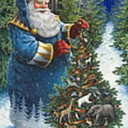 Santa's Christmas Tree Art Print