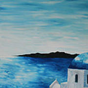 Santorini Blue Dome Art Print
