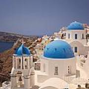 Santorini Blue Domes Art Print