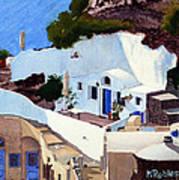 Santorini Cave Homes Art Print