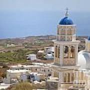 Santorini Church Overlooking The Sea Art Print