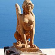 Santorini Sphynx Art Print