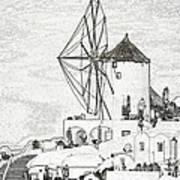 Santorini Windmill Art Print
