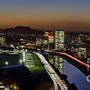 Sao Paulo Skyline At Dusk - Jockey Club - Pinheiros River Towards Pico Do Jaragua Art Print