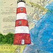Sapelo Island Lighthouse Ga Nautical Chart Map Art Cathy Peek Art Print