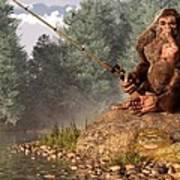 Sasquatch Goes Fishing Art Print