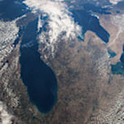 Satellite View Of Great Lakes Art Print