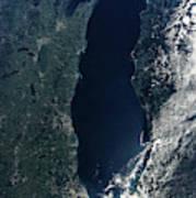 Satellite View Of Lake Michigan Art Print
