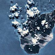 Satellite View Of Montserrat Island Art Print