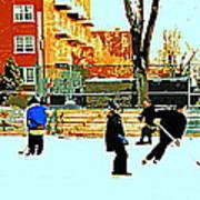 Saturday Afternoon Hockey Practice At The Neighborhood Rink Montreal Winter City Scene Art Print by Carole Spandau