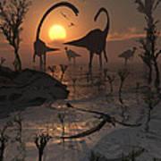 Sauropod And Duckbill Dinosaurs. Art Print