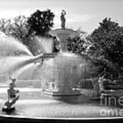 Savannah Fountain - Black And White Art Print